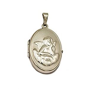 ASS 925 Silber Medaillon Anhänger, oval mit Engel ,Schutzengel zum Öffnen,22mm,strukturiert