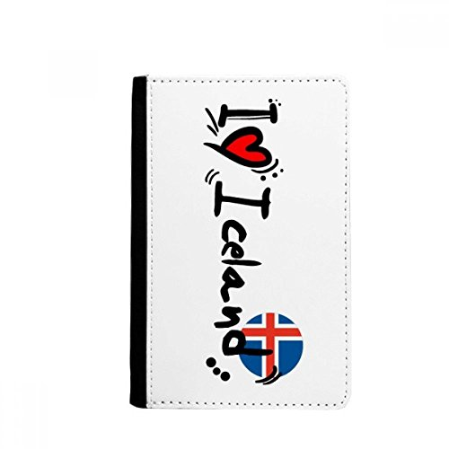 beatChong I Love Island Word-Flag-Liebe-Herz Illustration Pass-Halter-Reise-Brieftasche Abdeckungs-Fall Karten-Geldbeutel