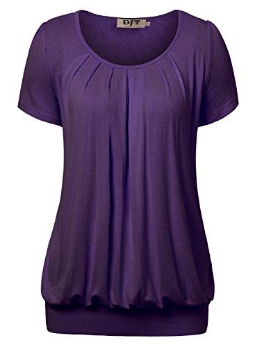 DJT Damen Casual Falten Kurzarm T-Shirt Kurzarmshirt Rundhals Stretch Tunika Violett S