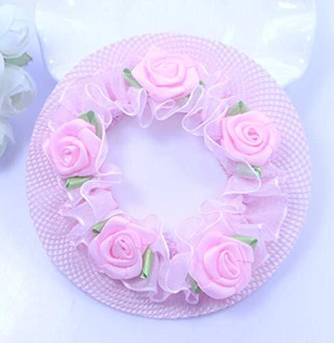 WEILIVE Haarnetz mit Blumentanzung, für Ballett, Rose, 7cm