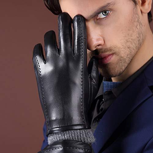 Raelf Guanti in vera pelle da uomo in pelle di capra guanto antivento spesso caldo guanti in pelle da moto touch screen guanti in pelle di pecora touch screen inviare padre fidanzato regalo di complea