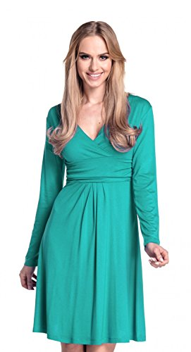 Glamour Empire. Femme. Robe à taille froncée. Robe jersey manches longues. 890 Sarcelle