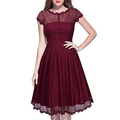 VENFLON® Mujeres Cap manga A-Line Vestido de encaje vestido de fiesta 0011-AYS (XXL, vino rojo)