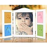 Cadres photo Baby Handprint Set - Grand cadre idéal pour l'empreinte du nouveau-né - Décoration de la chambre de bébé + Quatre non toxique 400G Cadre d'affichage photo