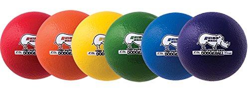 Champion Sports Rhino Skin UltraMax dodgeballs, Unisex - Erwachsene, Green, Royal Blue, Red and Yellow, 6-Inch