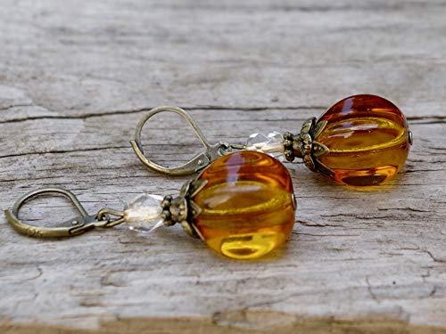 Vintage Ohrringe mit böhmischen Glasperlen - braun, hellbraun, bernsteinfarben transparent & bronze