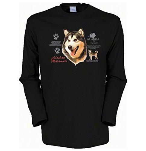 Cooles Herren Langarmshirt, Farbe: Schwarz, USA Hunde Motiv: Huskies Schwarz