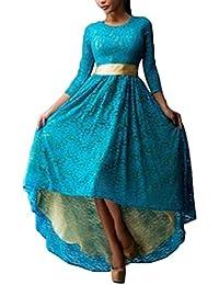 Donna Vestiti Da Sera Cerimonia Eleganti Autunno Invernali Vestitini Manica  A 3 4 Girocollo Abito 61b4d397e5e