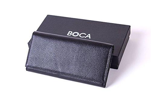 BOCA Portafogli da Donna in Vera Pelle con Blocco RFID, Portamonete Borsetta con Custodia Sicura Carte di Credito, Nero
