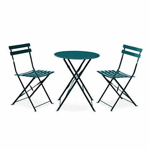 Salon de Jardin bistrot Pliable - Emilia Rond Bleu Canard - Table Ronde Ø60cm avec Deux chaises Pliantes, Acier thermolaqué
