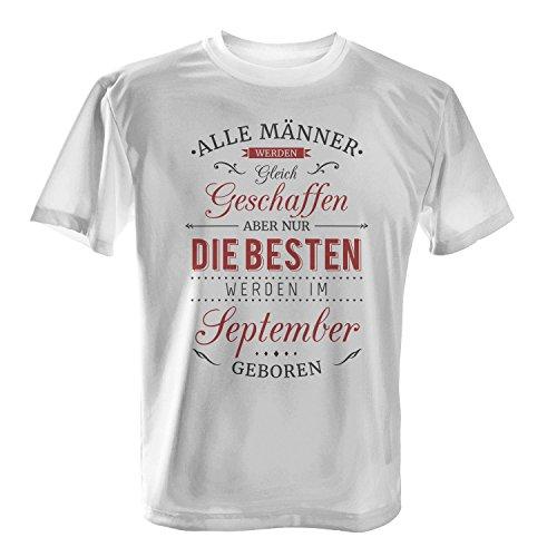 Fashionalarm Herren T-Shirt - Nur die besten Männer werden im September geboren | Fun Shirt mit Spruch als Geburtstag Geschenk Idee Weiß