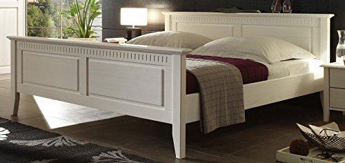 Jadella Bett 'Neuss II- Bett 180x200' Doppelbett Ehebett 180x200 Kiefer Weiss lasiert Massiv