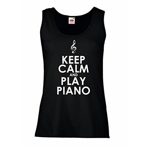 lepni.me Damen Tank-Top Klavier - Musiker zitiert (Medium Schwarz Weiß) (T-shirt Australien Fitted)