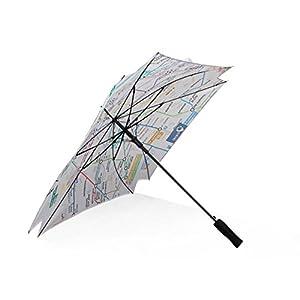 ZXLIFE Paraguas de viaje 8 costillas Mapa cuadrado a prueba de viento Construcción de acero inoxidable portátil resistente Paraguas plegable de secado rápido a prueba de agua para mujeres, hombres, niños y niños