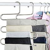 Huntfgold 8 Stück Kleiderbügel Mehrfach S-Form Hosenbügel Closet Organisieren Lagerung Edelstahl Platzsparer für Krawatte Schal Hose Handtuch Kleidung