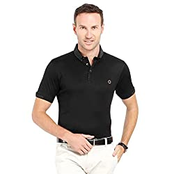 Proline Mens Short Sleeve Solid Polo with Printed Collar (Black-M)