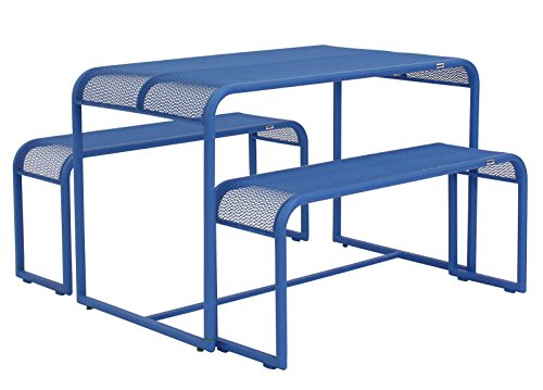 Balkontischgruppe Benco Sitzgruppe Essecke Gartengarnitur Balkon Garten blau