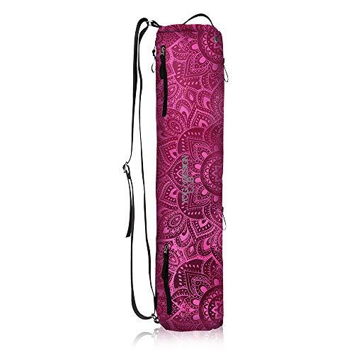 Yoga Design Lab | Bolsa para Esterilla de Yoga | Diseñado con tintas ecológicas | Multibolsillos | Correa Ajustable | Lavable | Calidad y Durabilidad (Mandala Rose)