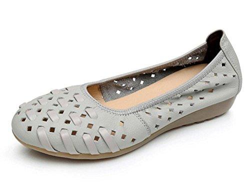 Da Donna Slip On Cuoio Morbido Soled Scarpe Madre Piana Piatta Antiscivolo Buco Caviglia Sandali Rotonda Bocca Bassa Scarpe Di Grandi Dimensioni Grey