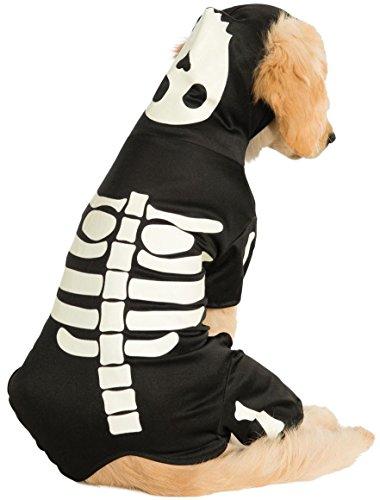 Für Kostüm Skelett Hunde - Rubie's Offiziell Skelett Kapuzenpulli Haustier Hund Halloween Kostüm - leuchten im dunklen Skelett Kapuzenpulli, X-Large