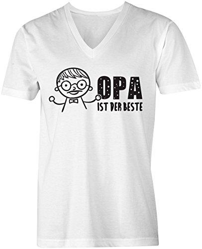 Opa ist der Beste ★ V-Neck T-Shirt Männer-Herren ★ hochwertig bedruckt mit lustigem Spruch ★ Die perfekte Geschenk-Idee (02) weiss