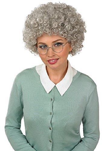 Oma Oma Dauerwelle lockig Kostüm Kleid Outfit Perücke (Oma-outfit)