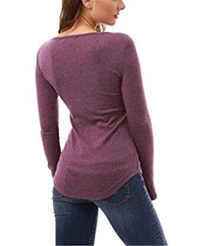 Gogofuture Femmes Manches Longues Col Rond Splice Shirt Blouse Tops Dentelle T-Shirt Soft ElÉGant Floral Classique Casual purple