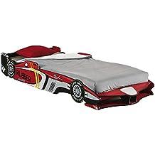 Cama infantil coche de carreras. Somier incluido. 213x97cm. Rojo y blanco. Para habitación infantil juvenil.