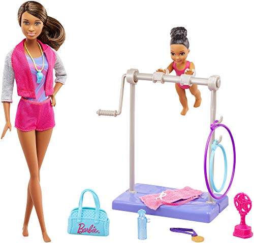Barbie- playset ginnasta, sbarra interattiva e piccola allieva, multicolore, fjb34