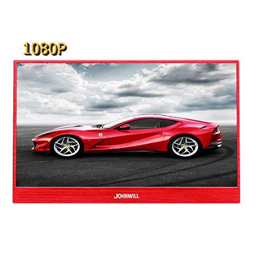 JOHNWILL 13,3-Zoll-Typ-c-Roter tragbarer Monitor, Ultra HD 1920 x 1080 IPS-LCD/LED-Anzeige, HDMI/Zwei-Typ-C (USB C) eingebauter Lautsprecher, Spielmonitor Ultra Slim Led-hdtv