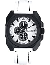 Marc Ecko Mens Watch E13585G1 with Matte White Dial and White Leather Strap