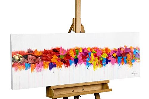 KunstLoft® Acryl Gemälde 'Farbenspiel am Horizont' 120x40cm | original handgemalte Leinwand Bilder XXL | Abstraktes Bunt auf Weiß | Wandbild Acrylbild Moderne Kunst einteilig mit Rahmen