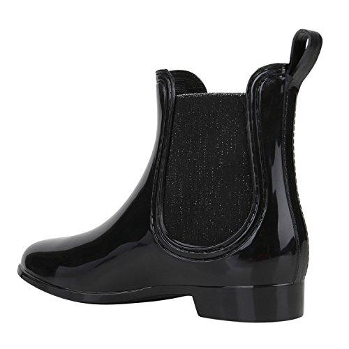Japado - Stivali di gomma Donna Schwarz Glitzer