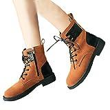 TianWlio Damen Stiefel Stiefeletten Frauen Flachen Schuh Rutschfeste Runde Kappe Plattform Herde Lace-Up Warm Martin Stiefel