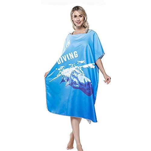 Surf Swimming Diving Suit Ersatz, kompakt und leicht, super saugfähig, Mikrofaser-Morgenmantel für Erwachsene, Handtuch mit Poncho-Kapuze, schnelltrocknender Bademantel, Badezimmer liefert