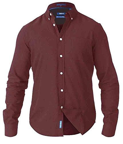 Duke D555 Herren Übergröße groß hoch langärmlig klassisch Oxfordhemd geknöpft Kragen Burgundy