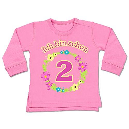 Geburtstag Baby - Ich bin schon 2 Blumenkranz - 18-24 Monate - Pink - BZ31 - Baby Pullover (2 Shirt Ebene)
