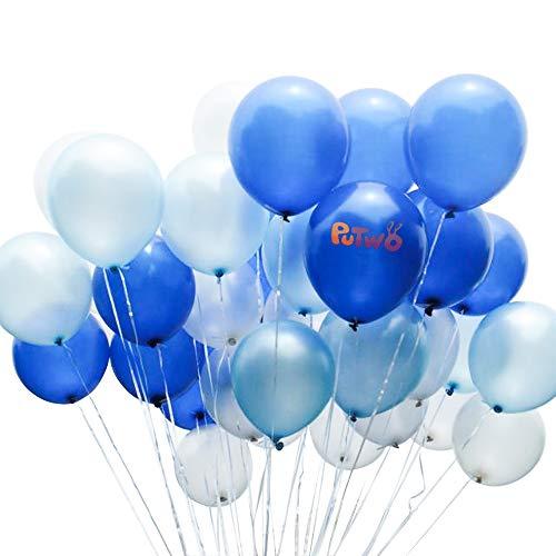 Putwo palloncini blu e bianchi 100 pezzi 12 pollici palloncini blu royal palloncini blu chiaro palloncini bianchi palloncini in lattice per addobbi battesimo bambino, frozen compleanno, piatti frozen