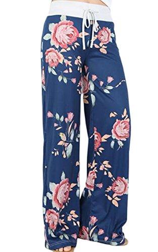 Angashion Damen Blumenmuster Weite Bein Lange Hose, Blau, EU L(38)