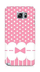 Amez designer printed 3d premium high quality back case cover for Samsung Galaxy Note 5 (girly pink bow dots)