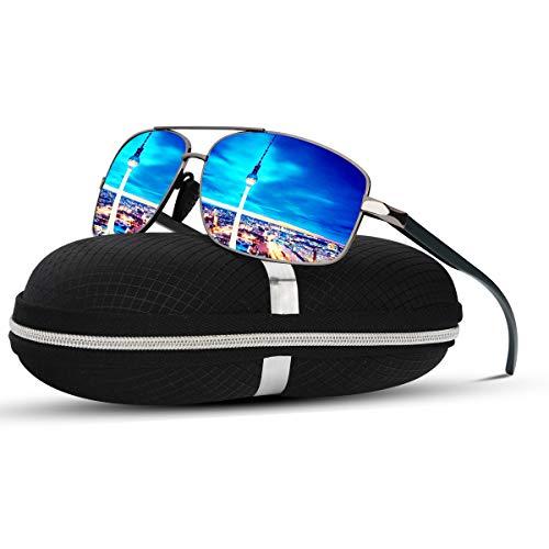 SUNMEET Polarisierte Sonnenbrille Herren Sportbrille Fahren Ultralight Metall Sonnenbrille für Männer S1006(Blau Asche)