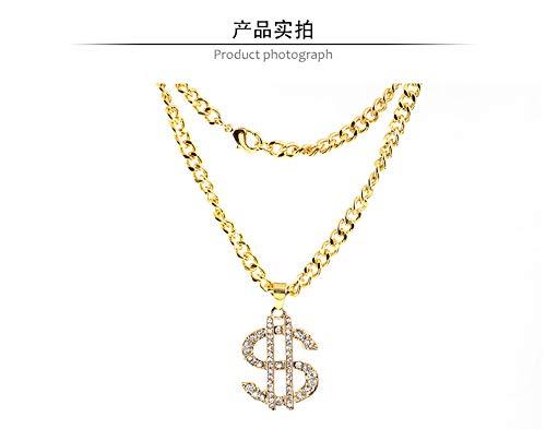 Floridivy Shinning Strass Dollar Geld Anhänger Legierung Lange Halsketten-Zeichen für Hip Hop Frauen Männer