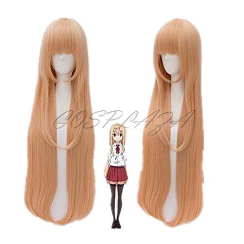 COSPLAZA Perruque Anime Doma Umaru Cosplay Wigs Himouto! Umaru-chan longue light orangé raide Cheveux