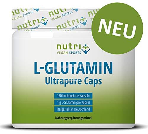 L-GLUTAMIN KAPSELN Ultrapure AKTIONSPREIS - 150 Mega Caps a 1000mg - ohne Zusatzstoffe - hergestellt in Deutschland - Fitness & Bodybuilding - Vegan Glutamine Made in Germany