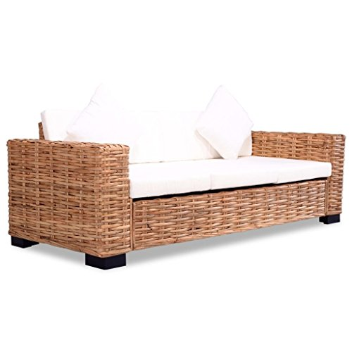 Vidaxl divano 3 posti in rattan naturale divanetto per 3 persone sofa salotto