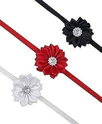 Sorella'z Beautiful Black, Red & White Flower Shape Headband Combo for Kid's