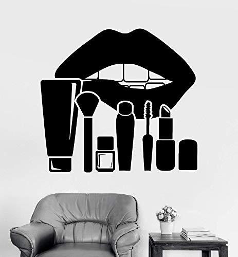yiyiyaya Vinyl Wandtattoo Lippen Make-up Kosmetik Schönheitssalon Aufkleber Einzigartiges Geschenk62 * 57 cm