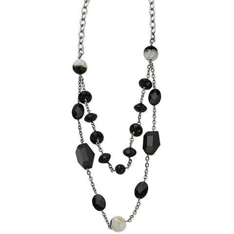 Acciaio inossidabile agata nera e Cristallo 24con 1.5pollici ext. Collana–61centimetri - Collana Agata Nera Di Cristallo