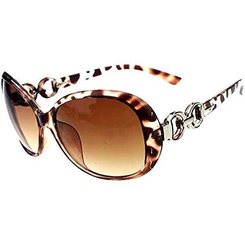 Sombras mujeres de gran tamaño gafas de sol clásico del diseñador de moda de estilo UV400-leopardo y Tawney