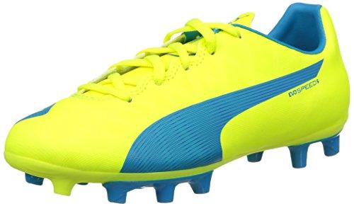 Puma evoSPEED 5.4 FG Jr, Unisex-Kinder Fußballschuhe, Gelb (safety yellow-atomic blue-white 04), 37.5 EU (4.5 Kinder UK)